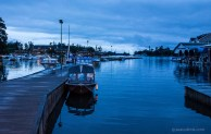 The dock in Alexandria Bay at dusk.