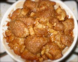 Apple monkey bread. Lacking that apple crisp-ness that I was intending, though still delicious.
