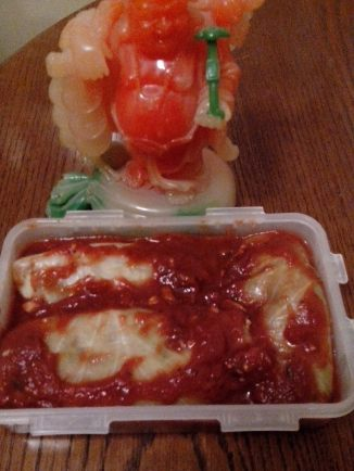 Veggie Cabbage Rolls smothered in Homemade Marinara Sauce