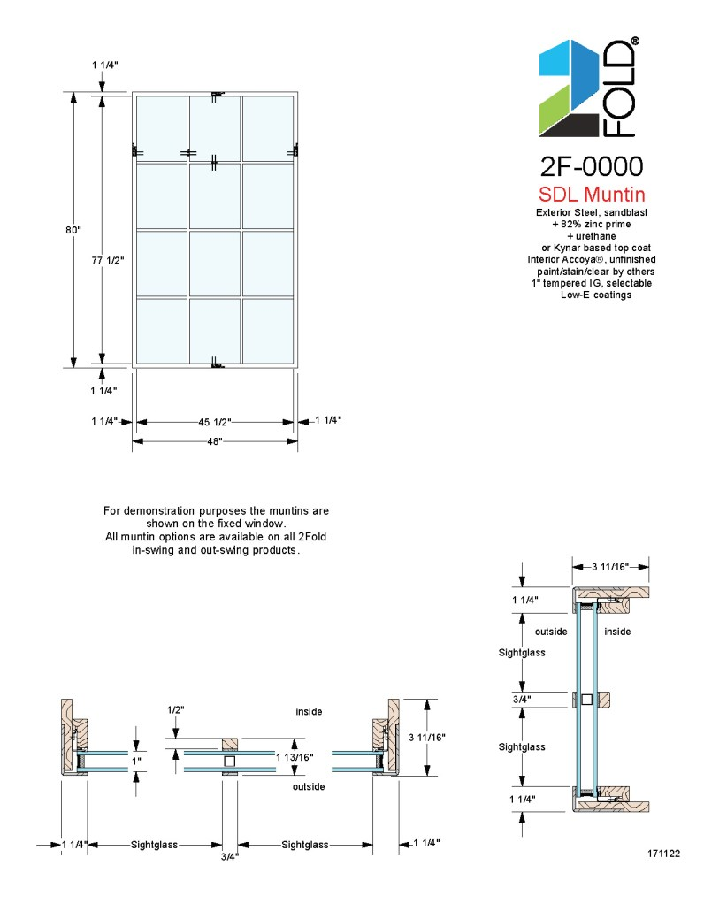 2Fold® fixed window shown with muntins that are 3-part, simulated divided lite (SDL) with true divided lite appearance without compromising sash rigidity and strength.