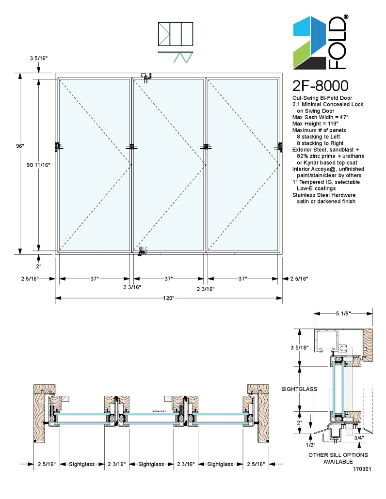 2F-8000 Folding Door: 2Fold® out-swing folding door with simple 2.1 locking