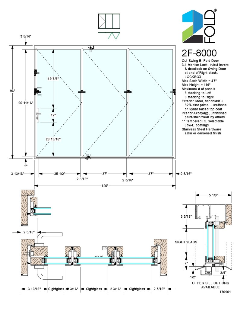 2Fold® out-swing folding door with mortise lock and lockbox