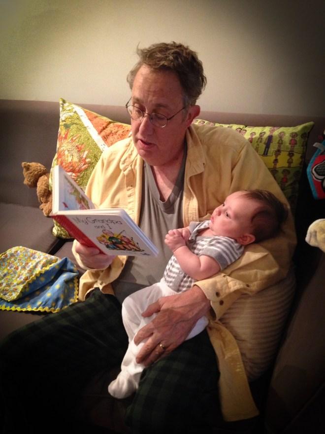 "Grandpa Thompson reading ""My Grandpa and Me"" to  Jurgen."