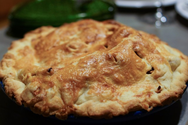 Apple pie out of the oven