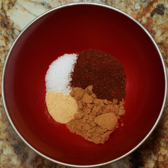 Spice packet for tortilla soup: Chili powder, cumin, garlic powder, and salt
