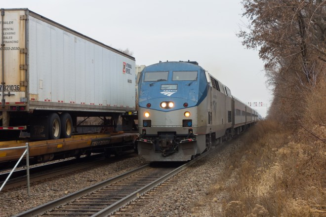Passing TOFC and Amtrak at Riverside, IL