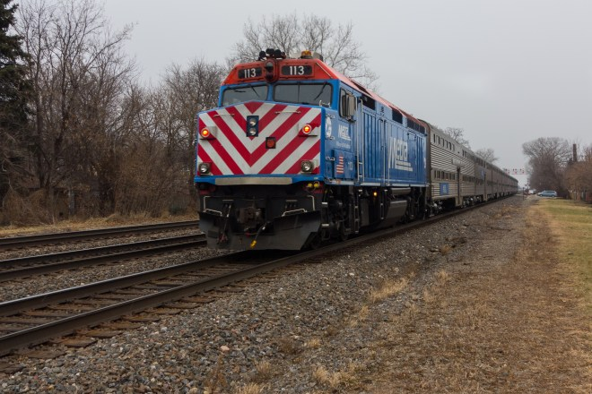 Metra passes every 30 minutes each way between Chicago and Aurora