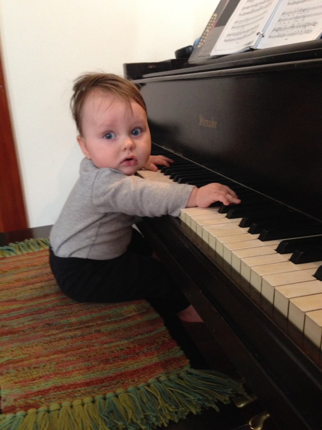 Jurgen getting a jump on piano lessons