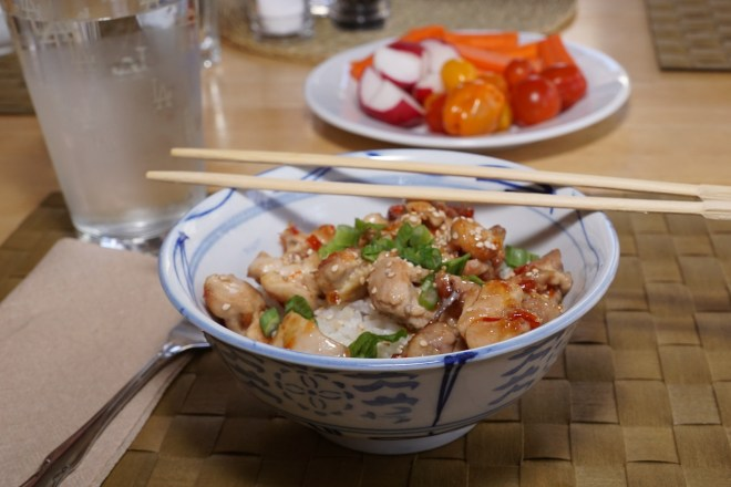 Dinner is served: Sweet Chili Chicken with Coconut Rice