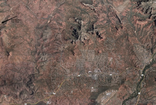 Map of Sedona and Doe Mountain