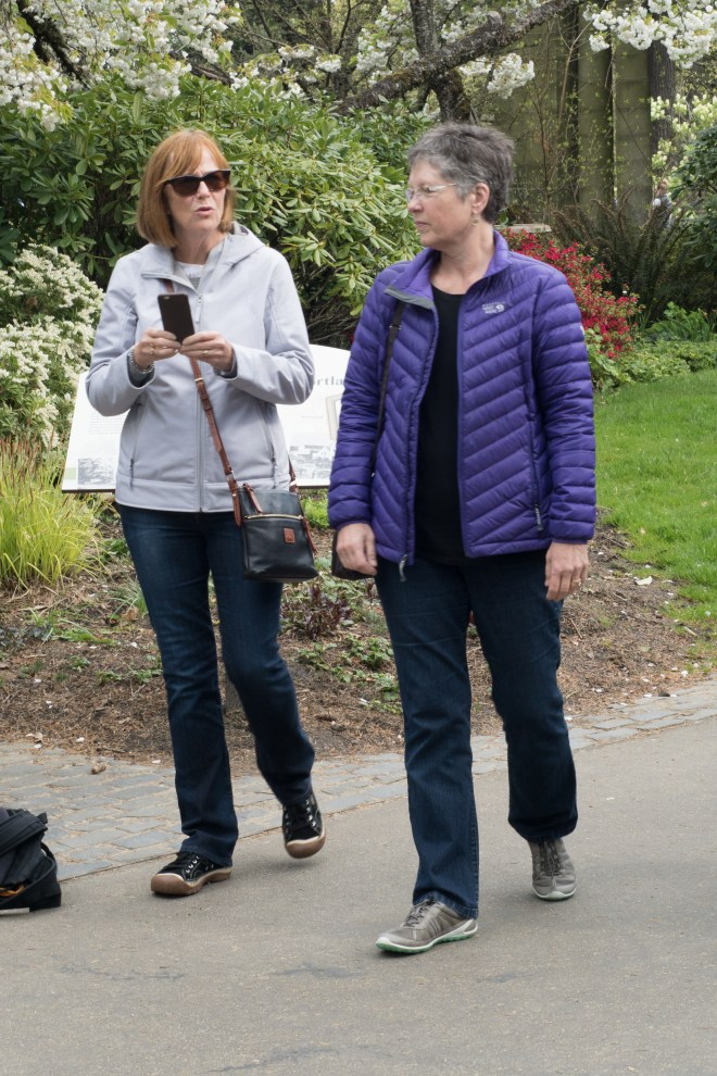 Robin and Carla talking and walking on our tour of the Japanese Gardens in Portland.