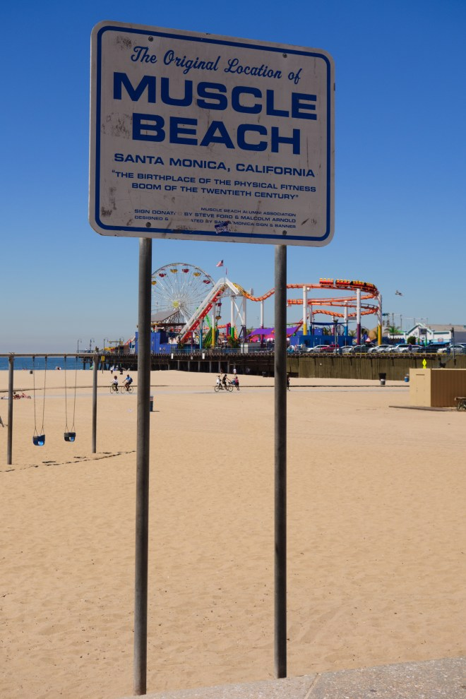 Muscle Beach just south of Santa Monica with the pier in the background