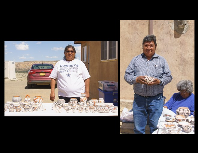 Acoma Sky City pottery vendors Stephanie and George