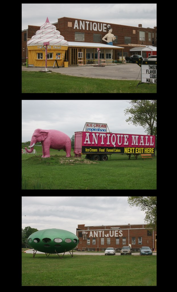 Giant pink elephant, UFO and ice cream cone in Mt Olive, Illinois