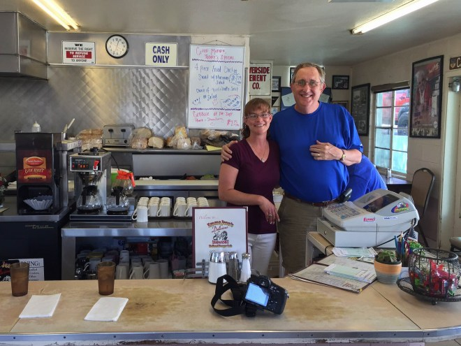 Howard with one of the owners of Emma Jean's Hollandburger