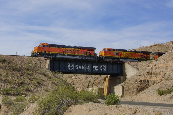 Eastbound BNSF freight crossing the Colorado River.