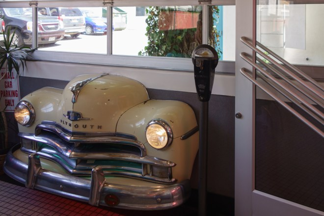 Front end of a Plymouth in the Albuquerque Route 66 diner