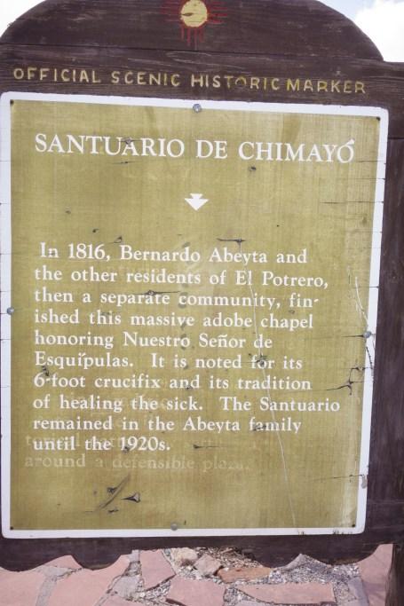 El Santuario de Chimayo in New Mexico descriptive sign