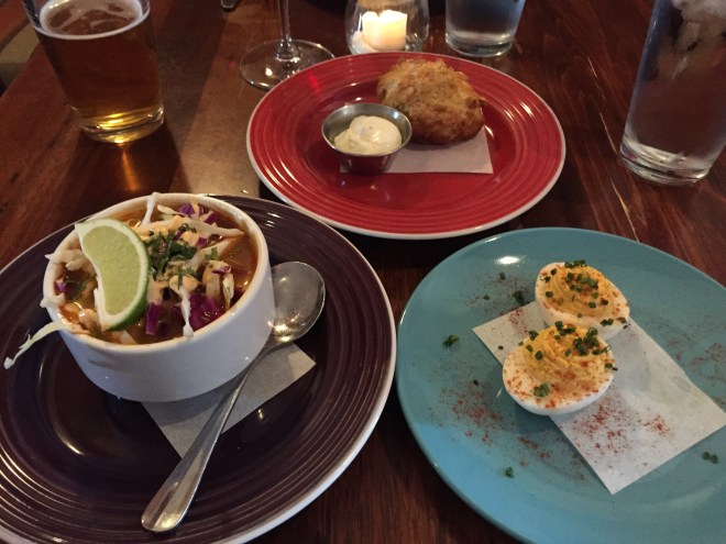 Posole and deviled eggs at Cleveland Heath in Edwardsville, IL