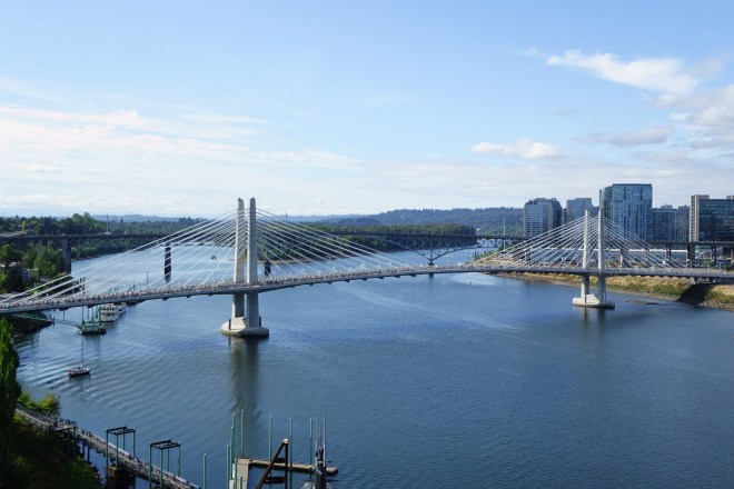 Tilikum Crossing seen from the Marquam Bridge