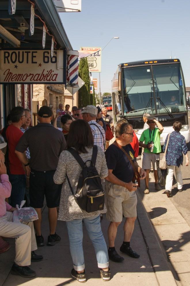 Tour Buss unloading in Seligman, Arizona