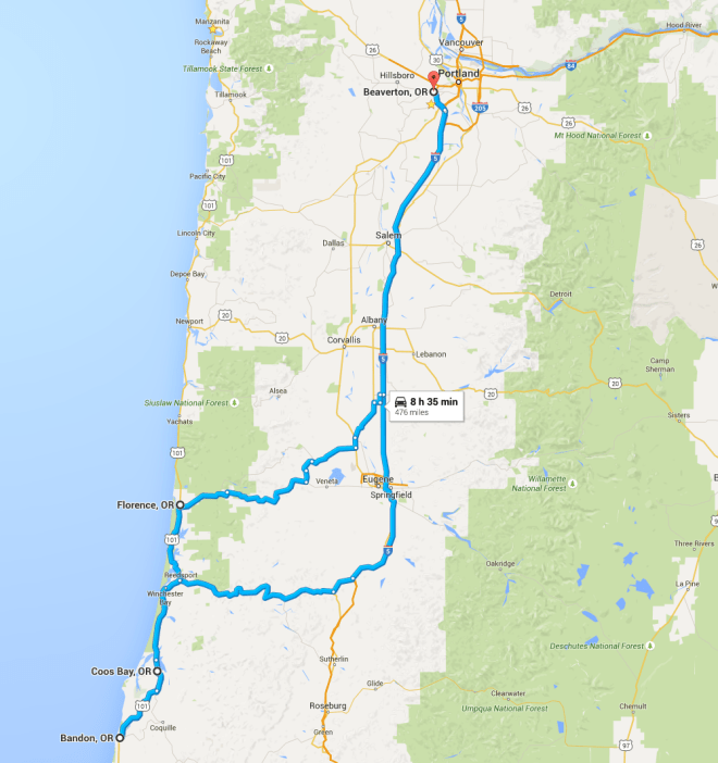 Map of our travel from Beaverton -> Coos Bay -> Bandon -> Florence -> Home