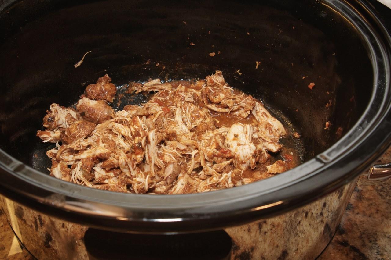 Shredded stewed chicken for chicken tostadas