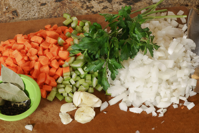 Chicken stock revisited ingredients ready for the pot