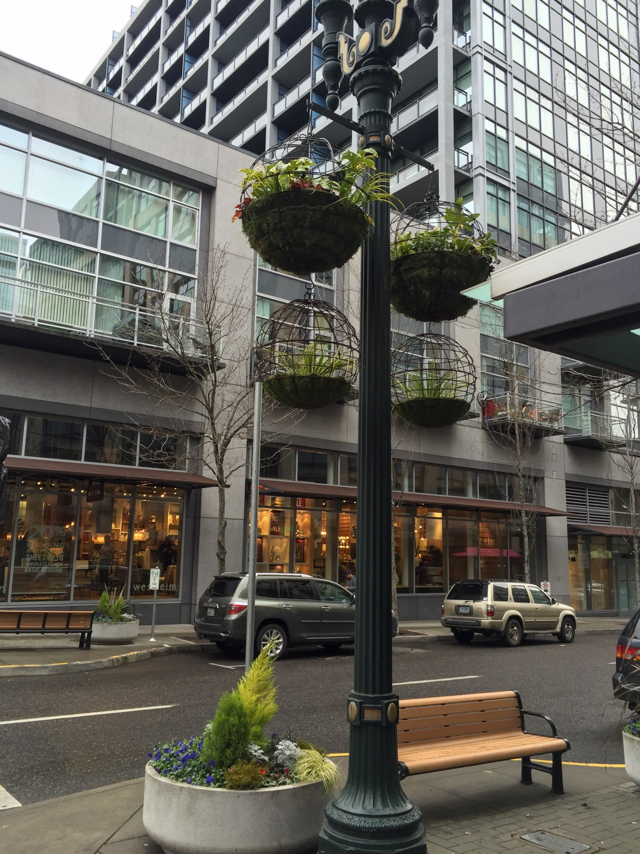 Hanging baskets in the Pearl District - Portland, Oregon