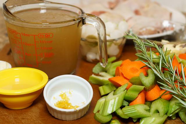 Easy chicken stew - ingredients assembled