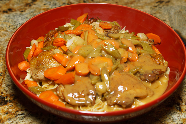 Easy chicken stew ready to be served
