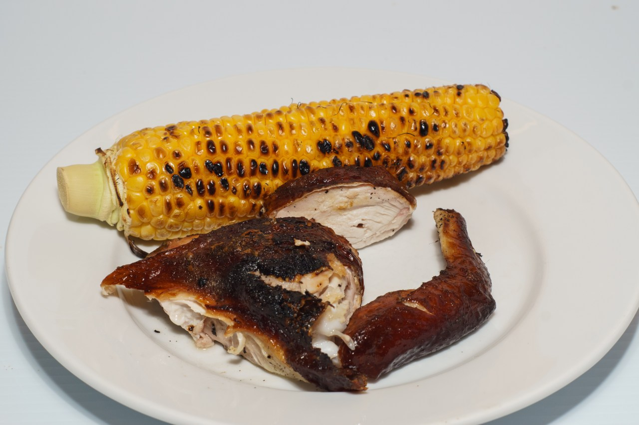 Dinner is served - grilled spatchcocked (butterflied) chicken