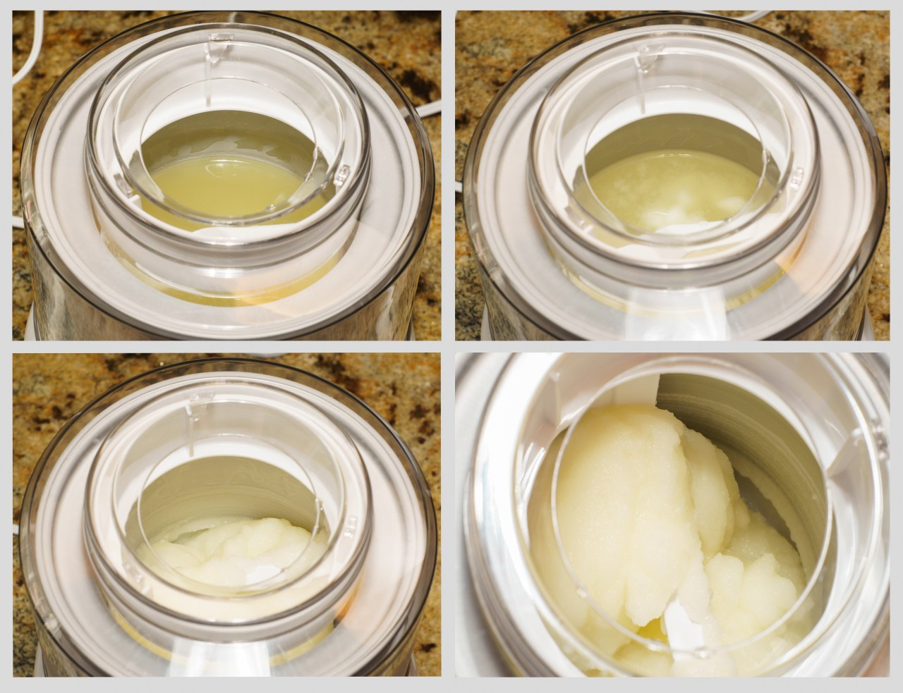 Four stages of the lemon sorbet.