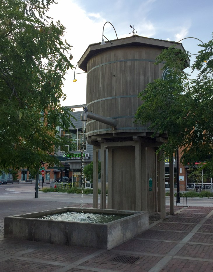 Old water tower converted to a fountain in Lincoln, Nebraska