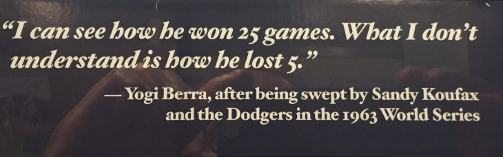 Yogi Berra's quote regarding Sandy Koufax
