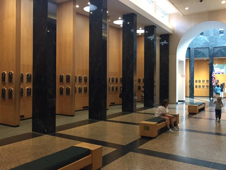Part of the actual Hall of Fame with some of the plaques.