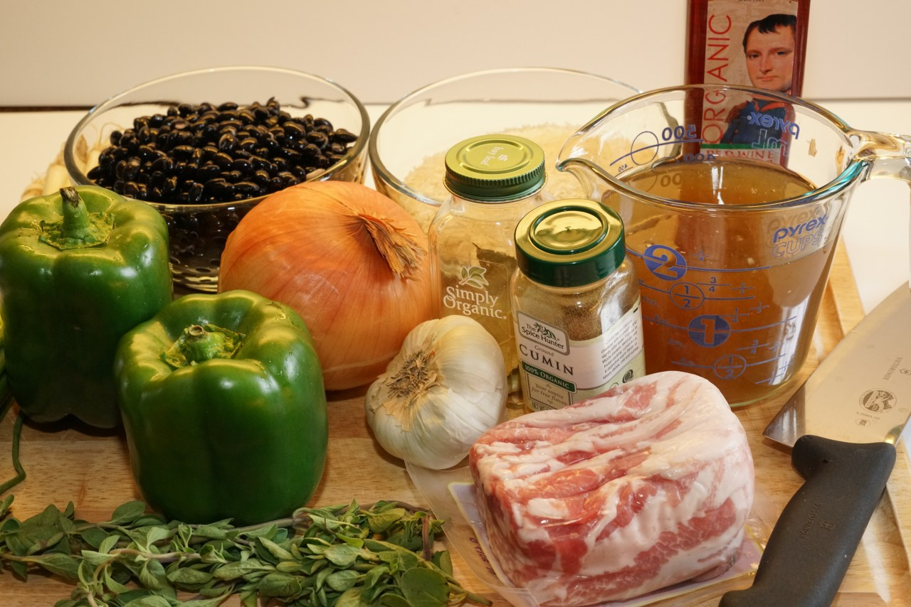 Ingredients for black beans and rice