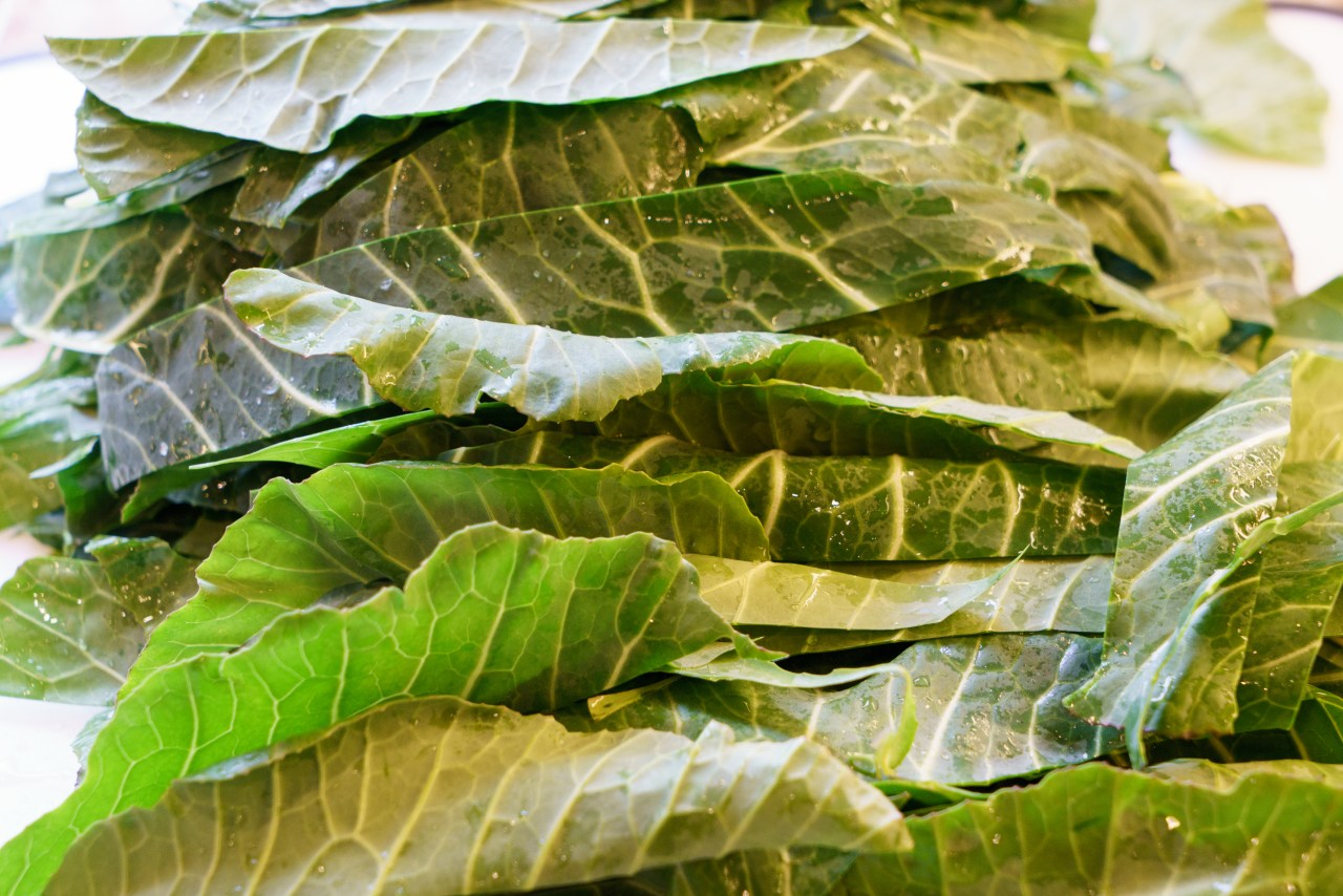 Collard greens cut into ribbons