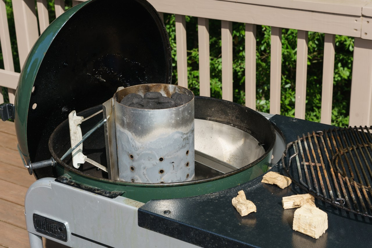 Charcoal ready to be fired up on the Weber Performer