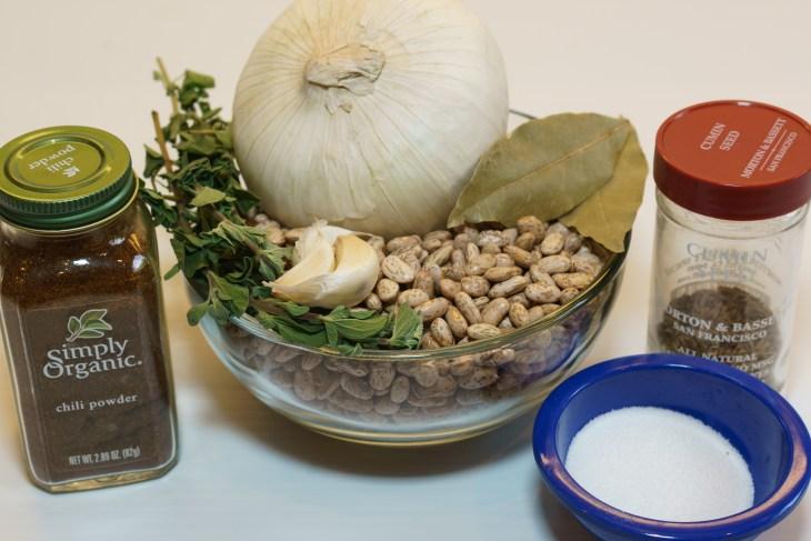 Pinto bean ingredients (plus a smoked ham hock)