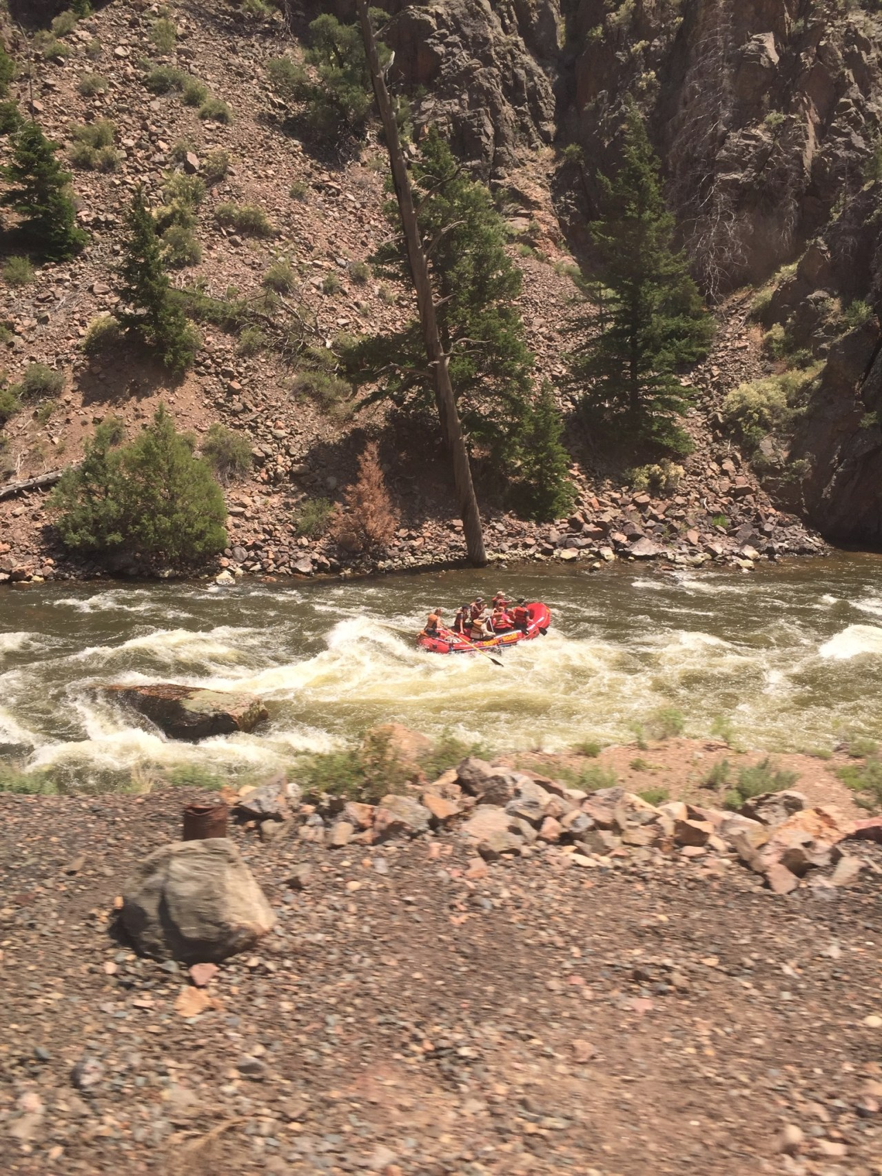 Rafting the Fraser River in Colorado as seen from the California Zephyr