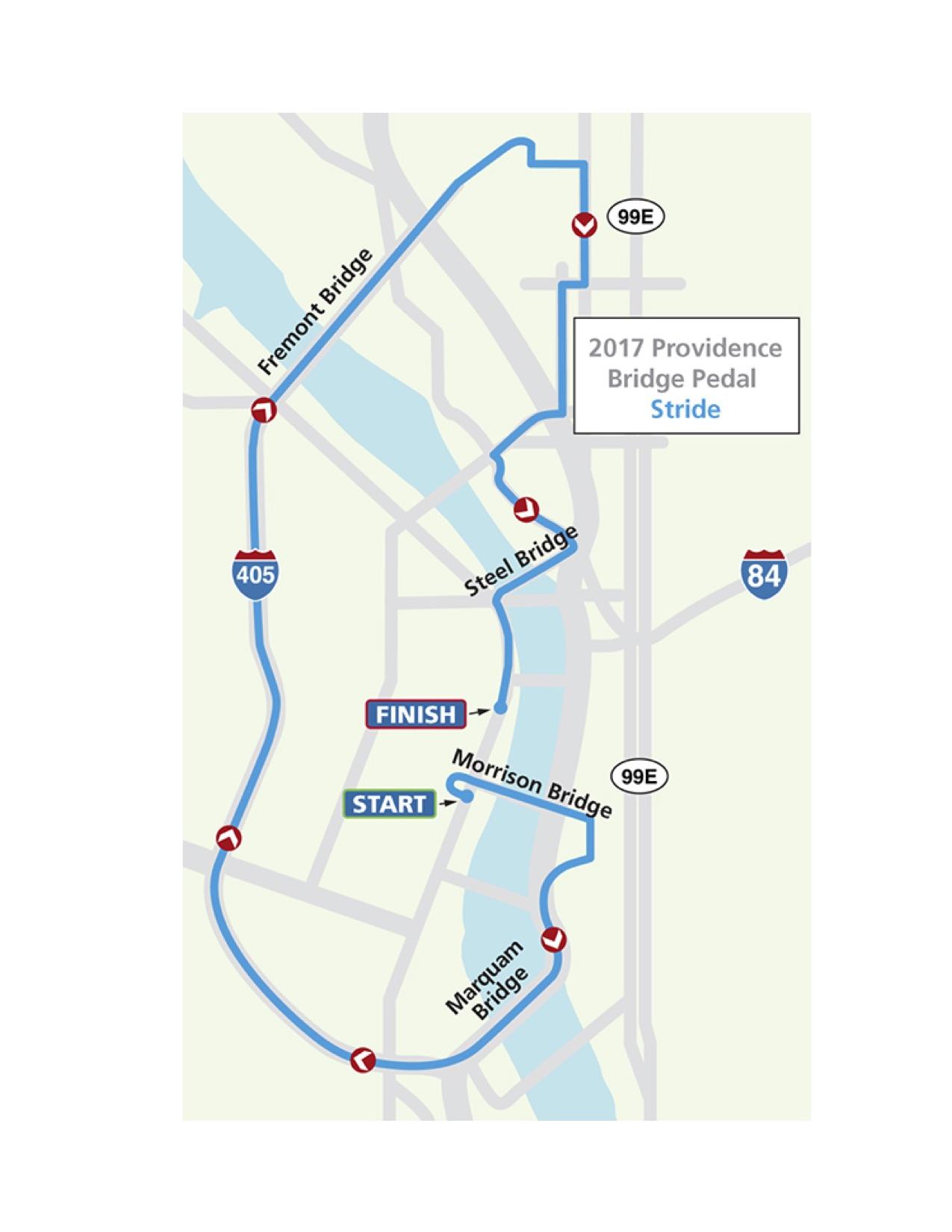 2017 Providence Bridge Stride Route