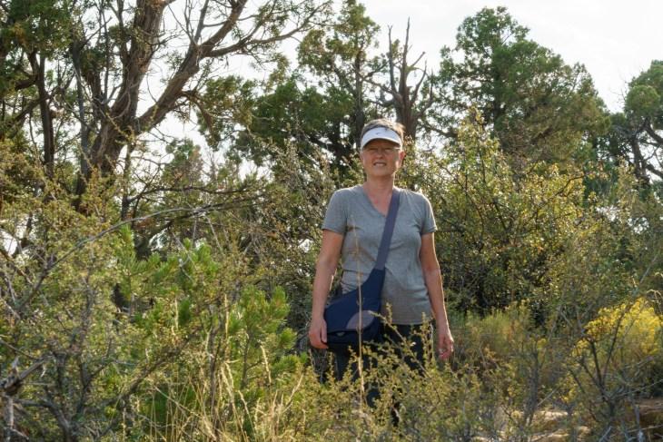 Carla hiking a trail at Mesa Verde National Park