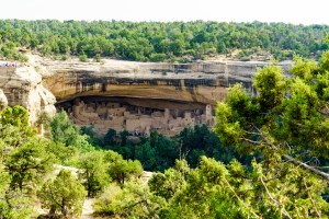 Closer up view of Cliff Palace at Mesa Verde