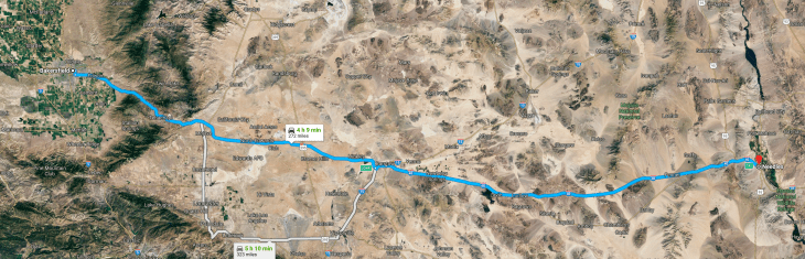 Bakersfield to Needles across the Mojave desert