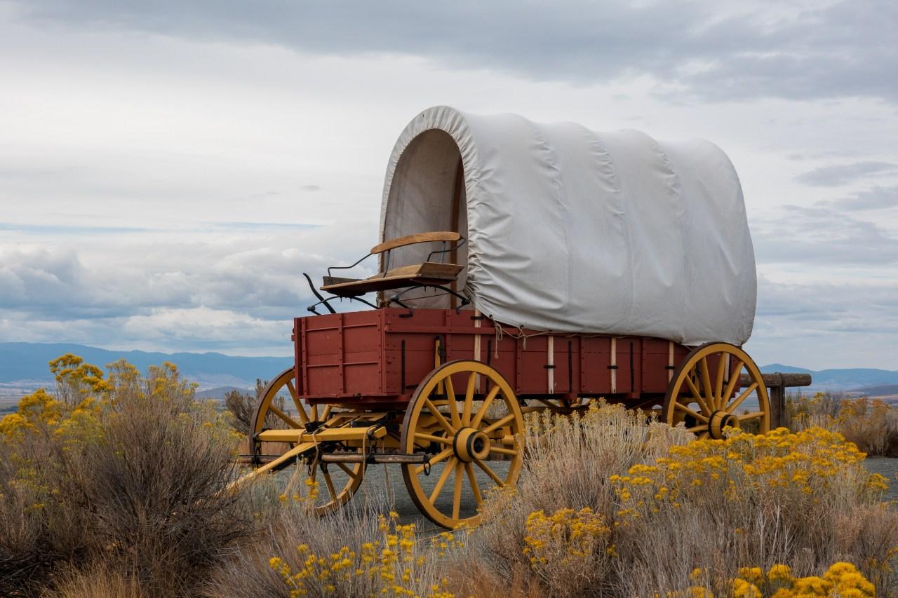 Replica wagon at the Oregon Trail Interpretive Center. Baker City, Oregon.