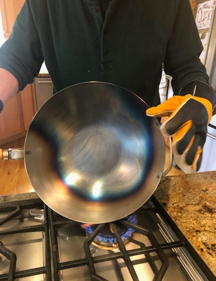 Seasoning a new wok