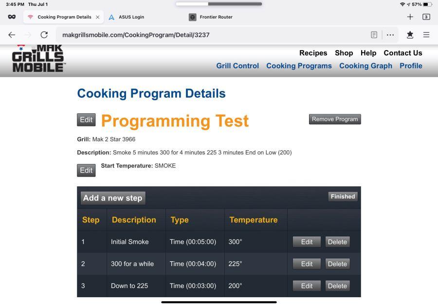 Programming a Mak Pellet Grill