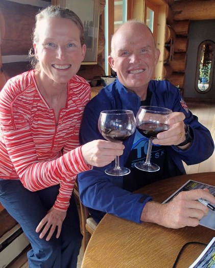 Jean and Oscar practice toasting with Macedonian wine (Vranec)