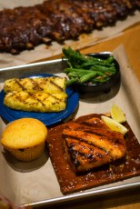 Cedar Planked Salmon at Famous Daves 2geekswhoeat.com #seafood #bbq